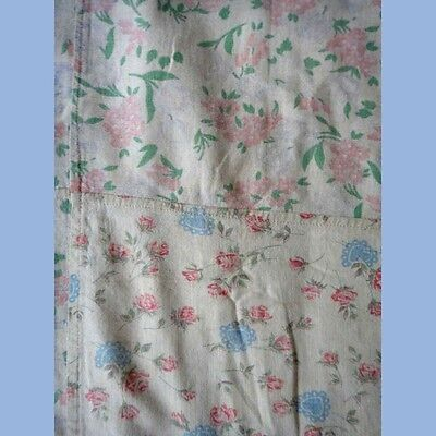 "antique FEEDSACK FABRIC QUILT COVER/DUVET feed sac 57""x62"" FLORAL CHIC SHABBY#2"
