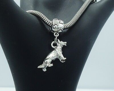 3D German Shepherd Dog Charm on Pawprint Slider Sterling Silver Plated