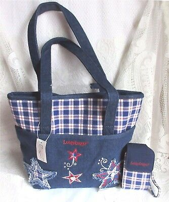 Longaberger BLUE RIBBON PLAID Denim Tote Bag And Cell Phone Stars Case New Tags