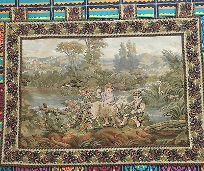 Antique English Aubusson Design Tapestry 71 By 88 Cm