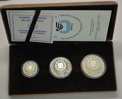 GN455 - Griechenland 100,250,500 Drachmai 1982 Stfr. Olympia Silber in Orig. BOX
