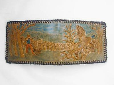 Vintage Hand Tooled & Tinted Leather Pheasant Hunter & Dog Men's Wallet, New