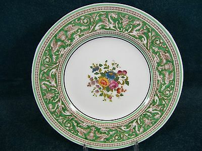 """Wedgwood Florentine Green Rim Floral Center 6 1/8"""" W1232 Bread and Butter Plate"""