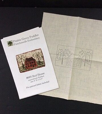 Prairie Grove Red House Punchneedle Embroidery 605 3 x 4.75 Trees Farmhouse New