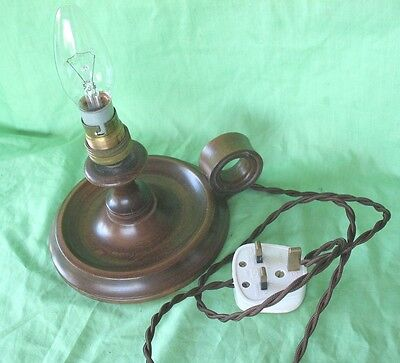 Old antique vintage Edwardian period wooden go to bed candlestick table lamp