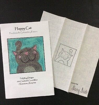 PollyWog designs Punchneedle Embroidery Happy Cat Stacey Grieb 2.25 X 2 Kitten