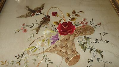 """Antique 19th C Society Silk Embroidery Basket of Flowers Birds in Frame 18""""X21"""""""