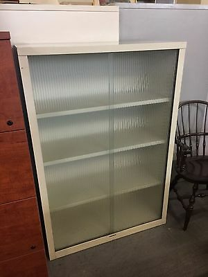 METAL BOOKCASE w/ GLASS DOORS by STEELCASE OFFICE FURNITURE in PUTTY COLOR