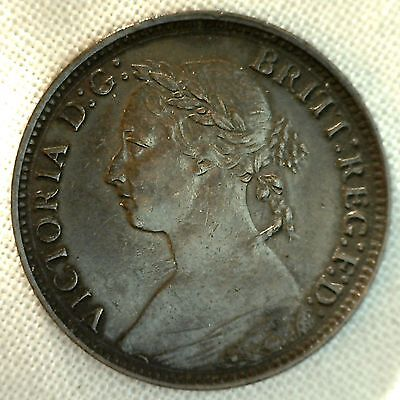 1881 H Copper Farthing Great Britain UK Coin XF #2