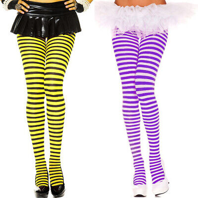 Halloween Plus Size Stripe Opaque Pantyhose Tights One Size XL 1X 2X   ML7471Q