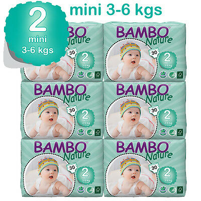 Bambo Nature Mini Nappies 3-6  Kgs 6 Packs In A Box 180 Eco Biodegradable