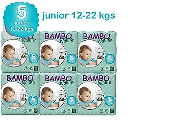 Bambo Nature Junior  Nappies 12-22 Kgs 6 Packs In A Box 162 Eco Biodegradable