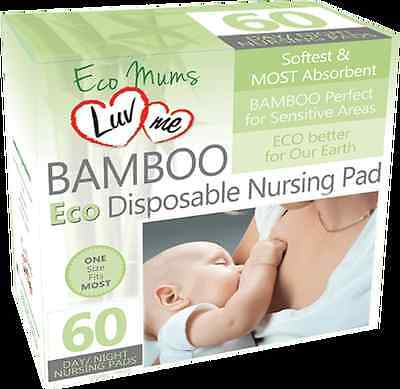Luv Me Bamboo Eco Disposable Nursing / Breast Pads Box Of 60 Day / Night
