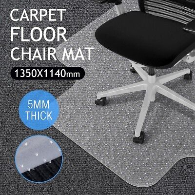 Hard Carpet Mat Floor PVC Protector Office Computer Plastic Chairmat-135 x 115cm