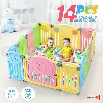 ABST 14 Panel Kids Baby Playpen Interactive Baby Room Foldable Safety Gates Bear
