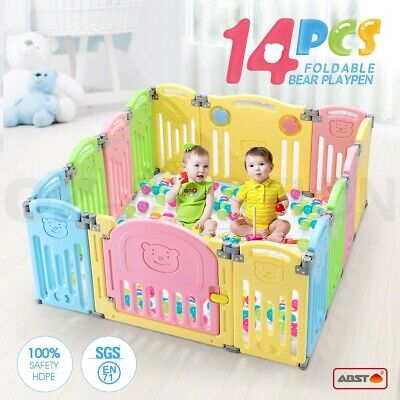 ABST 14 Sided Panel Baby Playpen Interactive Kids Toddler Safty Door Baby Room