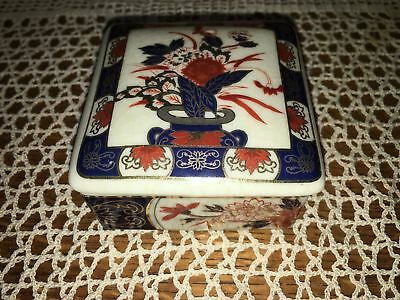 IMARI WARE Japan oriental trinket box ceramic blue red floral design gold trim