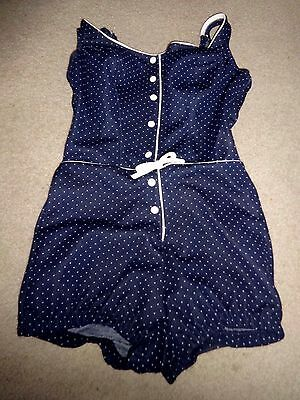 Vintage Sea Fashions of California Navy Blue & White Bathing Suit Bust 32""