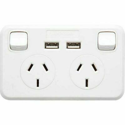 Ozstock Jackson Double Power Point Gpo Wall Outlet 2 Usb Sockets 240V Pt9822