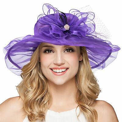 Womens Dress Wedding Bridal Royal Ascot Ladies' Day Wide Brim Sun Hat A342