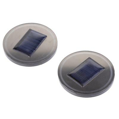 1 Pair Solar Car Cup Holder Bottom Pad LED Light Cover Trim Atmosphere Lamps