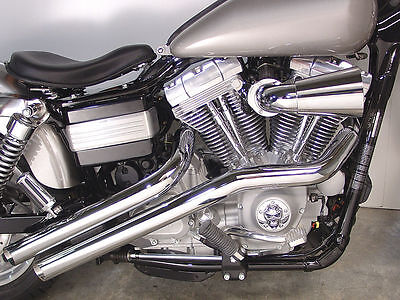 "New Radii Chrome Drag Exhaust System Pipes 2 1/4"" 1991-2016 Harley Dyna"