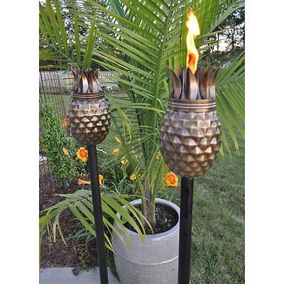 Outdoor Torch Statue Pineapple Antique Finish Tiki Set Of 2 Garden Patio Decor