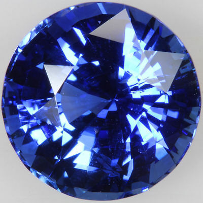 A PAIR OF 10mm ROUND-FACET ROYAL-BLUE CUBIC ZIRCONIA GEMSTONES