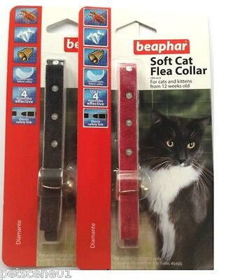 Beaphar Cat Flea Collar Diamante Red Or Black For Cat & Kitten Over 12 Weeks Old