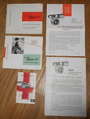 1956 Group of  Vintage Leica Camera Instruction Booklet & Pamphlets  X 5