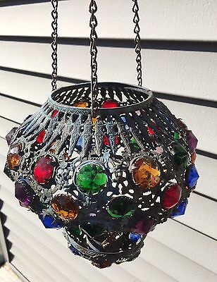 Antique Moroccan Jeweled Pendant Hanging Candlelit Lamp Light Chandelier