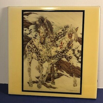 1991 Judy Larson Crow Ponies Ceramic Tile Art Painting Horses Usa Textile West