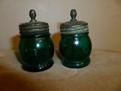 2 ANTIQUE  BOSTON & SANDWICH blue GLASS CHRISTMAS SALT W AGITATOR  & pepper