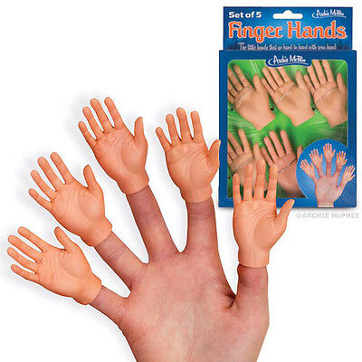 BOXED Set Of Five Finger Baby Hand Vinyl Finger Puppets Costume Accessory
