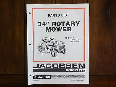 HOMELITE JACOBSEN TRACTOR Parts Manual GT12H GT14H GT16H UT ... on