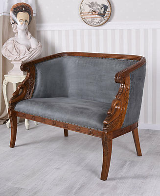Sofa Josephine Bench Biedermeier Couch Mahogany Upholstered Couch Antique
