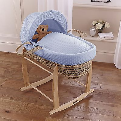 New Clair De Lune Blue Dimple Baby Boys Palm Moses Basket & Rocking Stand