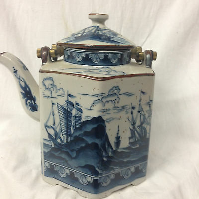 Andrea By Sadek Japan Sad40 Teapot With Metal Handle Ships On The Ocean In Blue
