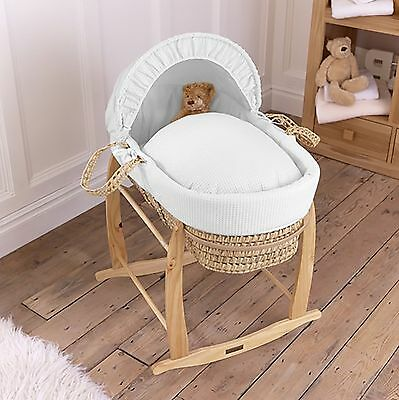 New Clair De Lune White Waffle Unisex Baby Palm Moses Basket & Rocking Stand