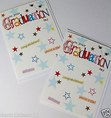 GRADUATION CARDS X12, JUST 25p, EMBOSSED, FOILED (B131