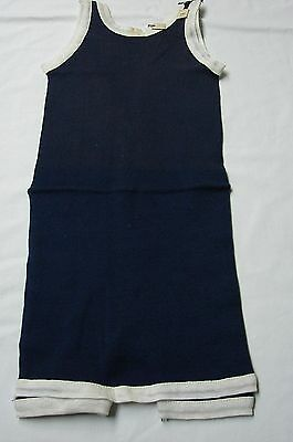 DEADSTOCK 1920s Vintage MEN'S BLUE & WHITE COTTON JERSEY SWIMSUIT SWIMWEAR