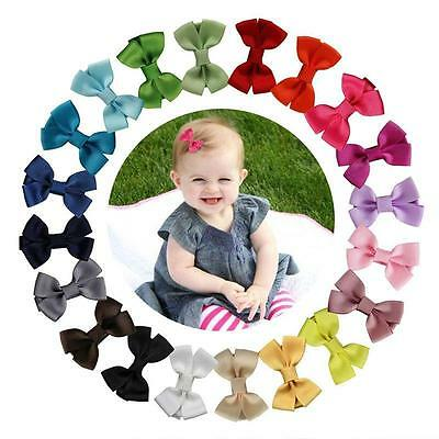 20Pcs Hair Bows Band Boutique Alligator Clip Grosgrain Ribbon Girl Baby Kids Z