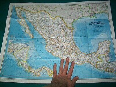 Large Vintage National Geographic Map Mexico & Central America Aztec World Texas
