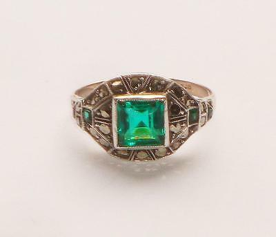 Superb Rare Antique Machine Age Art Deco Age Of Jazz Paste Emerald Gold Ring