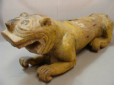 Burmese Antique Painted Tiger Carved Wooden Temple Sculpture