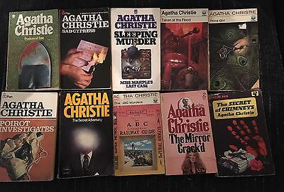 10 x Agatha Christie Old Paperback Books - Acceptable To Good Condition