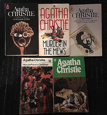 5 x Agatha Christie Old Paperback Books - Acceptable To Good Condition
