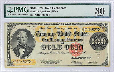 1922 $100 Gold Certificate, PMG 30, Fr#1215, Stains
