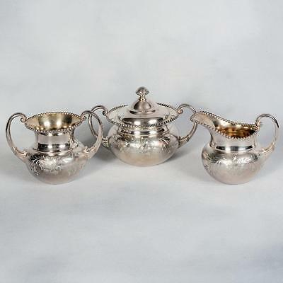 James W. Tufts Quadruple Silver Plate Pattern #2245 - Cream, Sugar & Waste
