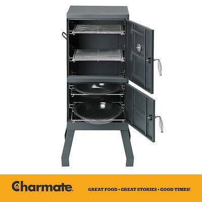 Charmate 2 Door Charcoal Patio Smoker Oven. Compact, Easy to Use American Smoker
